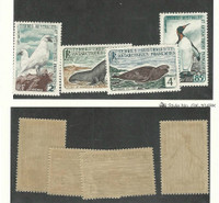 French Southern Antarctic, Postage Stamp, #16-19 Mint NH, 1960 Bird, Seal
