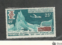 French Southern Antarctic, Postage Stamp, #33 Mint NH, 1969 Airplane