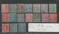 France, Postage Stamp, #138-154 Used Set of 17, 1903-1938 (p)