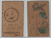 L Misc, Leather Postcard, 1907, Harrisburg, PA, I Am Full, Moon, USA Eagle