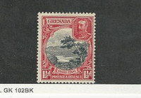 Grenada, Postage Stamp, #114a (perf 12.5X13) Mint No Gum, 1936