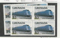 Grenada, Postage Stamp, #1124-1125 Mint NH Blocks, 1982 Trains