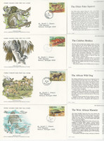 Ghana, Postage Stamp, #621-4 First Day Covers, 1977 Animals WWF