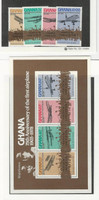 Ghana, Postage Stamp, #655-659 Set & Sheet Mint NH, 1978 Airplanes