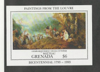 Grenada, Postage Stamp, #2172 Sheet Mint NH, 1993 Paintings Louvre