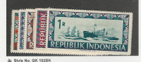 Indonesia, Postage Stamp, #54-58 Mint LH, 1948 Ship Map