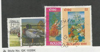 Ireland, Postage Stamp, #1005, 1027, 1034-35 Used, 1996 Christmas, Duck