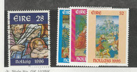 Ireland, Postage Stamp, #1032 Used, 1033-1035 Mint Hinged, 1996 Christmas