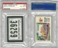 1950 Topps, License Plates Cards, #39 South Carolina, PSA 4 VGEX