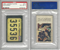 1950 Topps, License Plates Cards, #72 California, PSA 4 VGEX