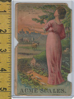 Victorian Card, 1890's, Acme Scales, Cusha, Woman, Cows, Pasture