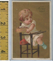 Victorian Card, 1890's, Acme Soap, Lautz, Baby In Highchair With Cake