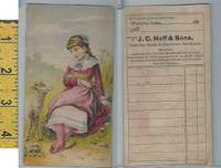 Victorian Card, 1882, Hoff Dry Goods, Waterlo Iowa, Girl Sits By Sheep
