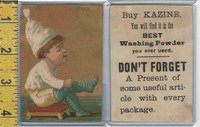 Victorian Card, 1890's, Kazine Washing Powder, Boy Puts on Socks