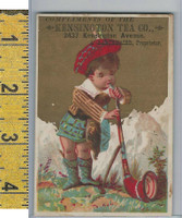 Victorian Card, 1890's, Kensington Tea, Barthmaier, Scotland Boy Horn