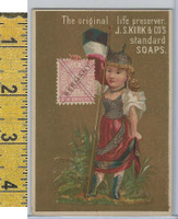 Victorian Card, 1890's, Kirks Chicago Soap, Flag Girl, Stamp, Germany