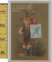Victorian Card, 1890's, Kirks Chicago Soap, Flag Girl, Stamp, England