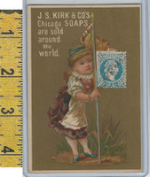 Victorian Card, 1890's, Kirks Chicago Soap, Flag Girl, Stamp, Austria