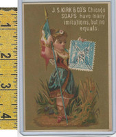 Victorian Card, 1890's, Kirks Chicago Soap, Flag Girl, Stamp, France