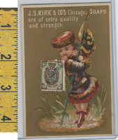 Victorian Card, 1890's, Kirks Chicago Soap, Flag Girl, Stamp, Russia