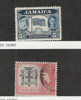 Jamaica, Postage Stamp, #134 Mint Hinged, 172 Used, 1945-56 Flag