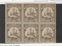 Kiauchau, Germany, Postage Stamp, #10 Mint NH Block of Six, 1901 Ship