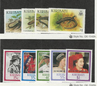 Kiribati, Postage Stamp, #491-499 Mint NH, 1987 Lizard, Queen Elizabeth