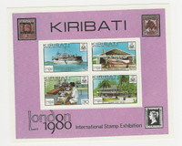 Kiribati, Postage Stamp, #355a Mint NH Sheet, 1980 Ship, Airplane