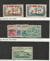 Lebanon, Postage Stamp, #183, 187, 206-208, 219 Used, 1946-48 Flag