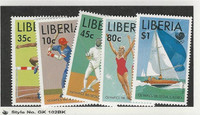 Liberia, Postage Stamp, #1091-1095 Mint NH, 1988 Olympic Sports, Baseball
