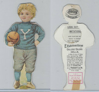 Victorian, 1890's, Prescott Enameline College Color Dolls, Yale, Football