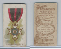 N30 Allen & Ginter, Worlds Decorations, 1890, #16 Golden Spur, Holy See (B)
