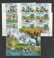 Maldive Islands, Postage Stamp, #1398//07 Mint NH Blocks & Sheet, Disney