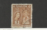 Malta, Postage Stamp, #262 Used, 1957 Baptism of Christ