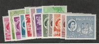 Mauritius, Postage Stamp, #251-265 Mint Hinged Set of 15, 1953-54