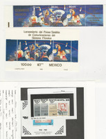 Mexico, Postage Stamp, #1382-1385, 1388a, 1389 Mint NH Strips 7 Sheet, 1985