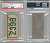 R19-3 Goudey, Auto License Plates Card, 1938, Kentucky, PSA 7 NM
