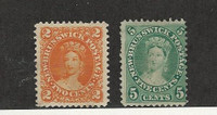 New Brunswick, Postage Stamp, #7-8 Mint Hinged, 1860-63