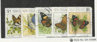 New Zealand, Postage Stamp, #1075-79 Used, 1991-98 Butterfly
