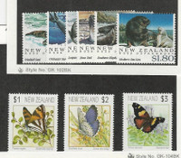 New Zealand, Postage Stamp, #1075-7, 1094-9 Mint NH, 1991-2 Seal Butterfly