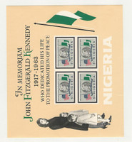 Nigeria, Postage Stamp, #161a Mint NH Sheet, 1964 John Kennedy, Flag