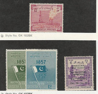 Pakistan, Postage Stamp, #76 Mint Hinged, 90-91, 102 Mint LH, 1955-58 Flag