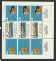 Palau, Postage Stamp, #C16a Mint NH Sheet, 1986 Ronald Reagan, Remeliik
