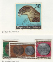 Papua New Guinea, Postage Stamp, #401, 410-1, 413 Used, 1974-5 Bird, Coin
