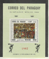 Paraguay, Postage Stamp, #1069 Mint NH Sheet, 1969 Olympics