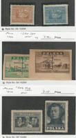 Poland, Postage Stamp, #189-190, 385, 387, 399, 403 Mint Hinged, 1923-47