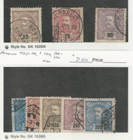 Portugal, Postage Stamp, #113, 121, 123, 124-126, 129-30 Used, 1895-1905