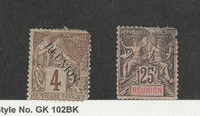 Reunion, French, Postage Stamp, #19, 44 Faults Mint, 1891