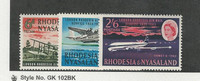 Rhodesia & Nyasaland, Postage Stamp, #180-182 Mint NH, 1962 Airplane