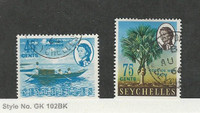 Seychelles, Postage Stamp, #204A, 206B Used, 1966 Boat, Tree